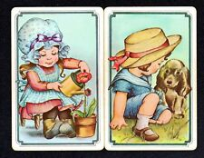 Vintage Swap/Playing Cards - Cute Girls with Puppy & Watering Can Pair