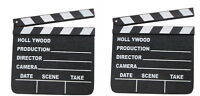 2 HOLLYWOOD CLAPBOARD CLAPPER CLAP BOARDS MOVIE SIGN DIRECTOR'S PROP CHALKBOARD