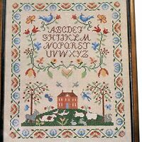 PEACEABLE KINGDOM Stamped Cross Stitch Kit Linen Pastoral ABC Sampler Historic