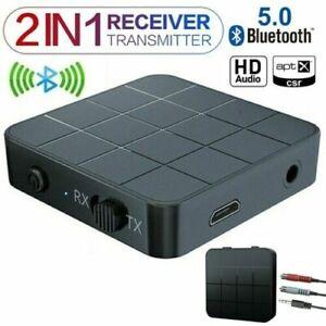 Wireless Bluetooth 5.0 Audio Transmitter Receiver HIFI Music Adapter 3.5MM AUX