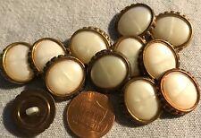 12 New Antiqued Gold Tone Plastic & Faux MOP Buttons 11/16