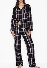 Victorias Secret M Pajama Set Pant Jacket Cotton Flannel Black Bold Plaid NWT