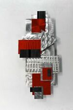Metal Abstract Decor Modern Wall Art Sculpture - Red Focal Point by Jon Allen