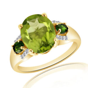 3.50ct Peridot August Birthstone W/ 14k Gold Solitaire With Accents Ring