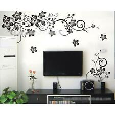 Removable Black Flower Rattan Butterfly Living Room TV Back Wall Sticker Decal