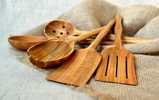 Kitchen Utensil Set 5 Pieces Cute Canadian Oak Wood Cooking Supply Wooden Tools