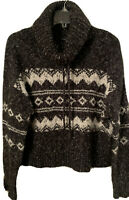 FOREVER 21 Cowl Neck Boxy Soft Knit Sweater Womens Cropped Black/White Warm EUC!