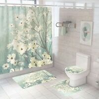 Floral Thick Bathroom Rug Set Shower Curtain Non Slip Toilet Lid Cover Bath Mat