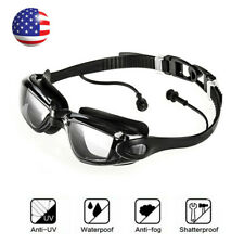 Swimming Goggles Anti-Fog Swim Glasses Uv Protection + Ear Plug Adult No Leaking