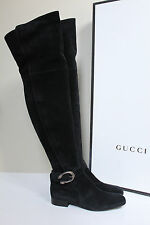 "New sz 7 / 37.5 GUCCI Besan Black Suede Over the Knee Tall 1"" Low Heel Boot Shoe"