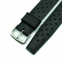 22mm 20mm Retro Tropic Style Quality Compound Rubber Watch Strap Black