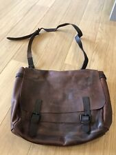 Amazing Men's All Saints Brown Leather SHELTER Satchel Bag