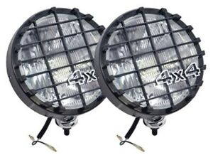 """LAND ROVER BLACK 8"""" LIGHT HALOGEN 100W 12 V DRIVING LAMP SET WITH GRILLES DA4088"""