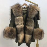 Women's Real Fur Collar Duck Down Liner Coat Hoodie Jacket Parka Hooded Overcoat