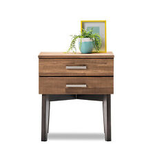 Scandinavian Danish Retro Modern Timber Wood Bedside Table 2 Drawer Storage