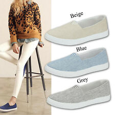 Womens Loafers Pumps Ladies Plimsolls Sneakers Canvas Slip On Flat Trainer Shoes