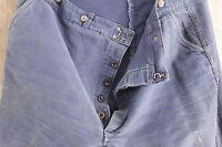 Vintage French peasant blue pants trousers moleskin work wear 44 inch waist