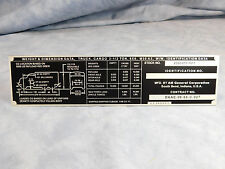 M35A2 DATA PLATE **AM GENERAL M35A2 W/W** WIEGHT AND DIMENSION DATA PLATE