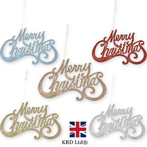 GLITTER MERRY CHRISTMAS SIGN Decoration Door Hanging Xmas Home Decor Bunting UK