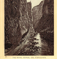 Train 1890's Denver & Rio Grande Railroad Royal Gorge CO Photo-Litho Coffee Card