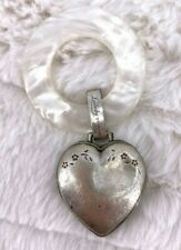 "Vintage Heart ""Lullaby"" Sterling Silver Mother Of Pearl Baby Rattle 1934 K30"