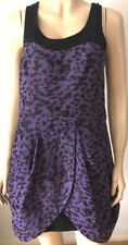 NEXT RUNWAY Purple Black Animal Print Sleeveless Lined Front Split Party Dress S