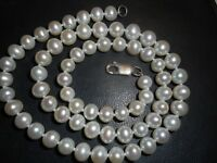 """6mm White Quality Cultured Pearl 17"""" NECKLACE Unused knotted mint ster"""