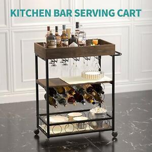 Bar Serving Cart, Mobile Rolling Wine Cart w/Brake Wheels, Handle, Metal Frame