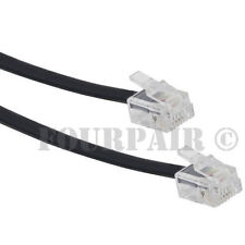 50 Pack Lot - 25ft Telephone Line Cord Cable 6P4C RJ11 DSL Modem Fax Phone Black