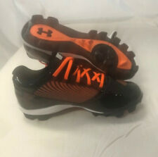 NEW Youth Under Armour Yard Low RM Baseball Cleats Shoes Black / Orange Sz 4