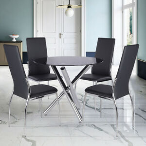 Black Tempered Glass Round Dining Table + 2/4 Chairs Set PU Leather Chrome Legs