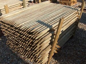 10 x 1.8m tall x 40mm round wooden treated pointed fence fencing posts stakes