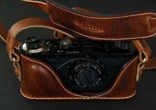 LUIGI PREMIUM CASE for LEICA I,or STANDARD,or II,NATURAL AGED BROWN,w/SS TRIPOD