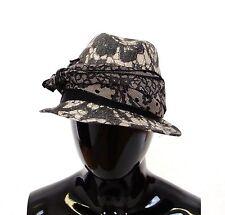 NEW $460 DOLCE & GABBANA Hat Black Trilby Lace Silk Runway Floral Fedora 58 / L
