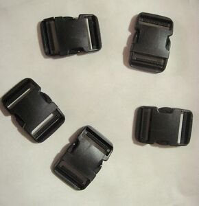 """High Quality 2"""" Fastex Side Release Buckle Black (5 Sets)"""