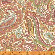 Windham Dover Flannel Rose Pink Peach Mint Green Paisley Floral Quilt Fabric