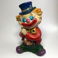 "Vintage 1960s 7x5"" Plastic CIRCUS CLOWN Bank Plug Toy Figure CHINA Smiling VTG"