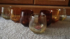 7 TEA LIGHT CANDLE GLASSES MULTI-AMBER COLORS