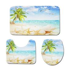 3PC Set Soft Bathroom Bath Rug Contour Mat Toilet Lid Cover Seaside coconut palm