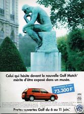 Publicité advertising 1996 VW Volkswagen Golf Match...penseur de Rodin