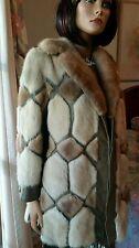 Vintage Genuine Leather Ivory &Beige Mink Fur 3/4 Stroller Fur Coat Jacket 8 10