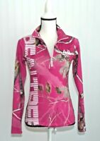 RealTree Women's Pink Camo Running Top Camouflage Athletic Top 1/4 Zip Size S/P