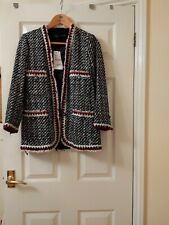 NWT ZARA WOMAN fray Aztec embroidered tribal jeweled jacket XS