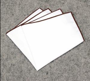 Edged Color White Pocket Square