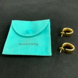 Tiffany 18K yellow gold oval huggie hoop earrings
