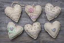 STUNNING SHABBY CHIC STYLE HEARTS CANVAS #883 WALL HANGING PICTURE ART A1