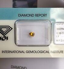 NATURAL Untreated DEEP Orange Yellow Fancy Diamond 0.16ct IGI CERTIFIED Rare