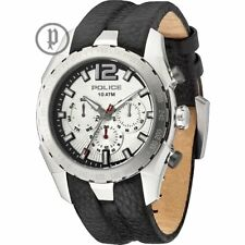 Police Eagle Silver Dial Leather Strap Mens Watch 13593JS-04