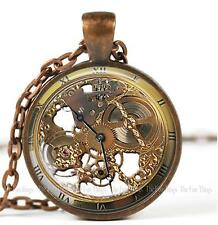 """Steampunk Clock Watch Image Pendant Charm Handcrafted Jewelry 1"""" Copper Setting"""