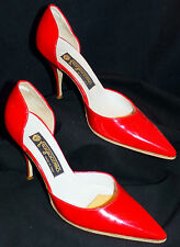 Red Hot Sexy Italian Patent Leather Fragiacomo D'Orsay Pumps Shoes 9.5 40 Italy
